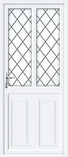 Clinton Half Panel Dual Glazed Diamond Lead UPVC Back Door