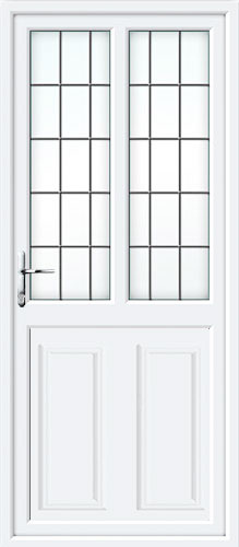 Clinton Half Panel Dual Glazed Square Lead Lead UPVC Back Door