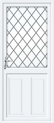 Clinton Half Panel Diamond Lead UPVC Back Door