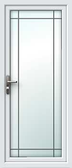 Full Glass Border Square Lead UPVC Back Door