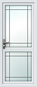 Full Glass Mid Rail Border Square Lead UPVC Back Door