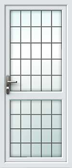 Full Glass Mid Rail Square Lead UPVC Back Door