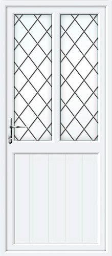 Tongue & Groove Half Panel Dual Glazed Diamond Lead UPVC Back Door