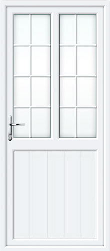 Tongue & Groove Half Panel Dual Glazed Georgian Bar UPVC Back Door
