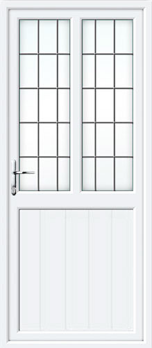 Tongue & Groove Half Panel Dual Glazed Square Lead UPVC Back Door
