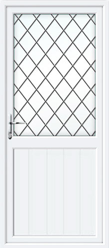 Tongue & Groove Half Panel Diamond Lead UPVC Back Door