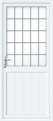 Tongue & Groove Half Panel Square Lead UPVC Back Door
