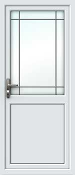 Half Glazed Border Square Lead UPVC Back Door
