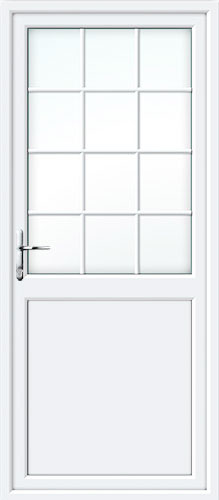 Half Glazed Flat Panel (2xG Style) Georgian Bar UPVC Back Door
