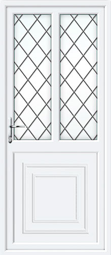 Reagan Half Panel Dual Glazed Diamond Lead UPVC Back Door