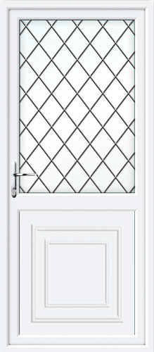 Reagan Half Panel Diamond Lead UPVC Back Door