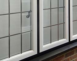 white flush sash windows in black frames