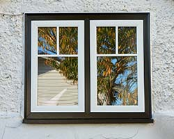 white flush windows in black frames